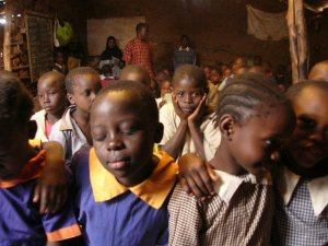 Pupils in an informal settlement class